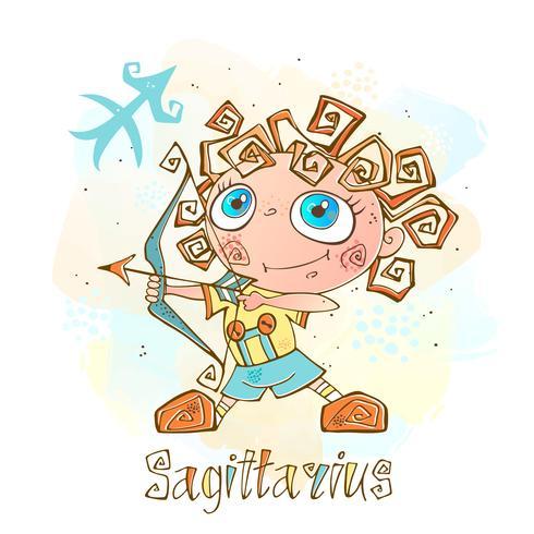 Kinder horoscoop pictogram. Zodiac voor kinderen. Boogschutter teken. Vector. Astrologisch symbool als stripfiguur. vector