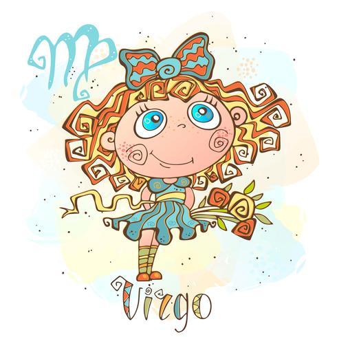 Kinder horoscoop pictogram. Zodiac voor kinderen. Maagd teken. Vector. Astrologisch symbool als stripfiguur. vector