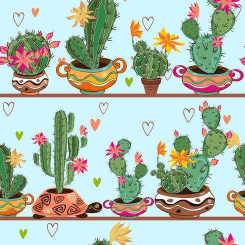 Naadloos patroon. Cartooncactussen in potten staan op de planken. Vector. vector