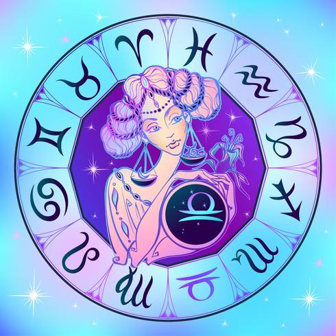 Sterrenbeeld Weegschaal een mooi meisje. Horoscoop. Astrologie. Vector. vector