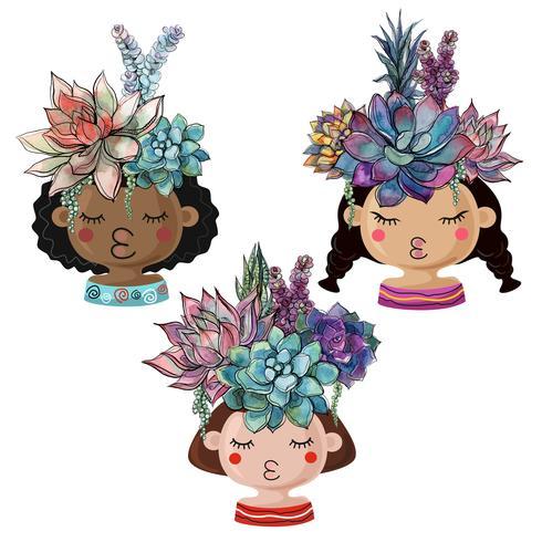 Set van vrolijke potten in de vorm van meisjes met boeketten van vetplanten. vector