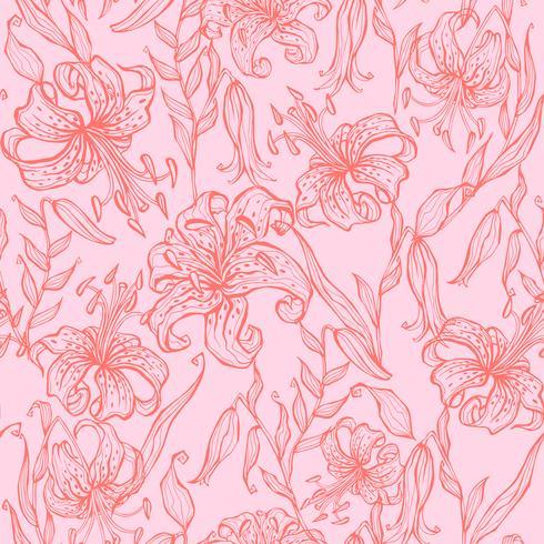 Naadloos patroon. Lelies op roze achtergrond. Vector. vector