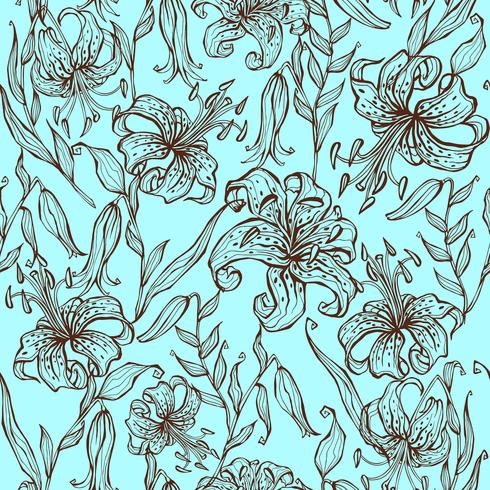 Naadloos patroon van leliebloemen op turkooise achtergrond. Vector. vector