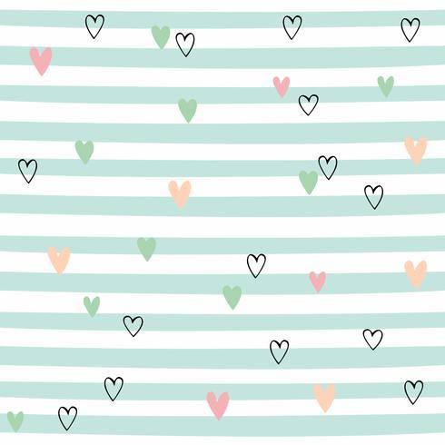 Gestreept naadloos patroon met harten. Leuk patroon met groene strepen. Vector