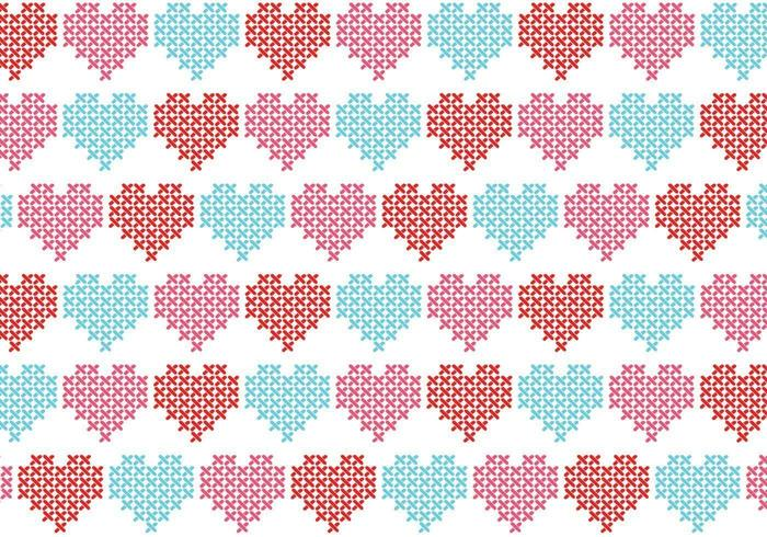 Kruissteek hart vector patroon