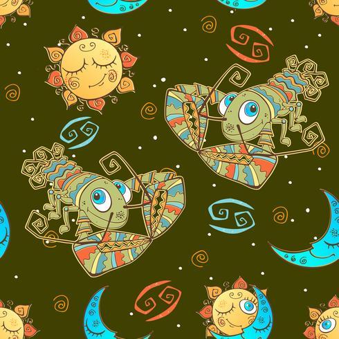 Een leuk naadloos patroon voor kinderen. Sterrenbeeld Kreeft. Vector