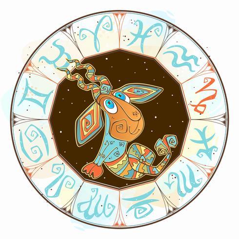 Kinder horoscoop pictogram. Zodiac voor kinderen. Steenbok teken. Vector. Astrologisch symbool als stripfiguur vector