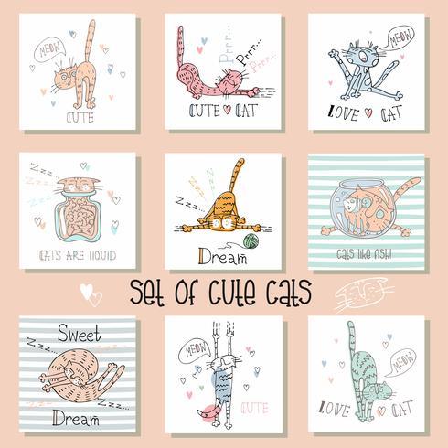 Verzameling van grappige katten in een leuke stijl. vector
