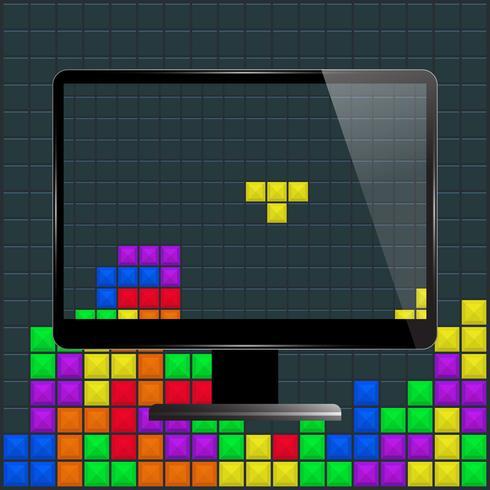 Zwarte computermonitor met schermbeveiliging. Oude game ontwerp achtergrond vector
