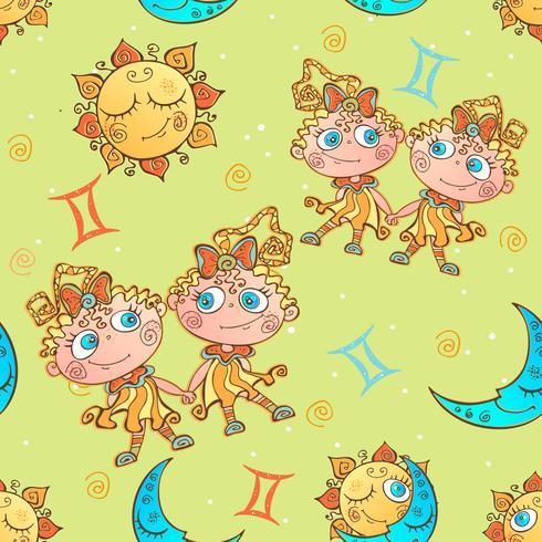 Een leuk naadloos patroon voor kinderen. Sterrenbeeld Tweelingen. Vector