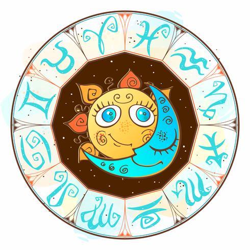 Dierenriem. Astrologisch symbool. Horoscoop. De zon en de maan. Astrologie. Mystiek. Vector