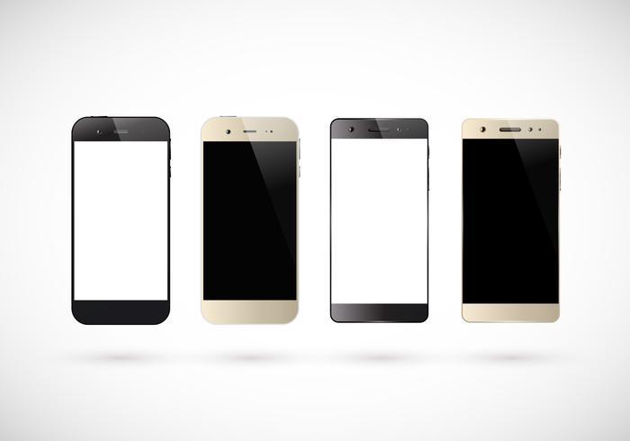 Vier zwart-witte smartphones vector