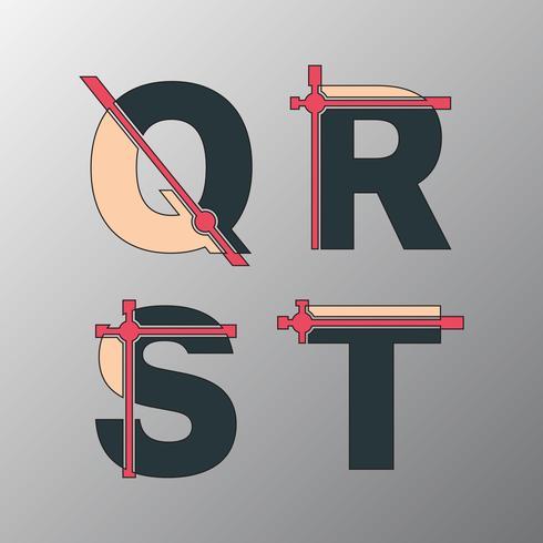 Onvolledig glitch-lettertype vector