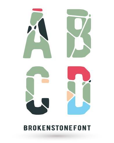 Alfabet gebroken lettertype vector