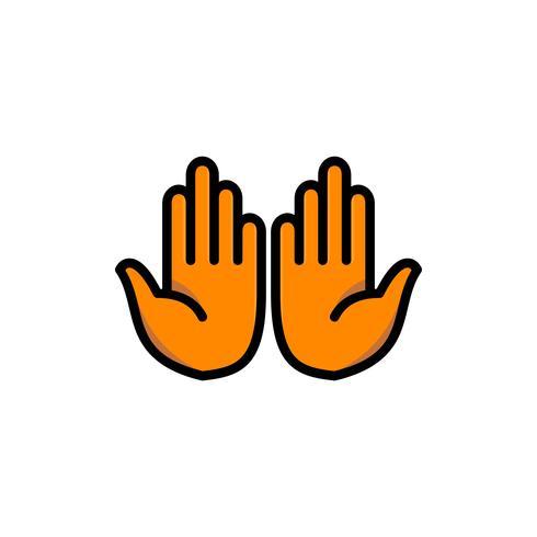 moslim biddende palmen vullen overzicht pictogram. ramadan kareem vector
