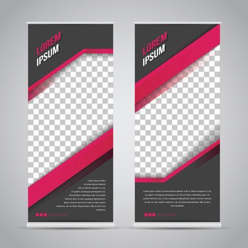 Roze zwarte Roll-up Banner sjabloon Mock Up vector