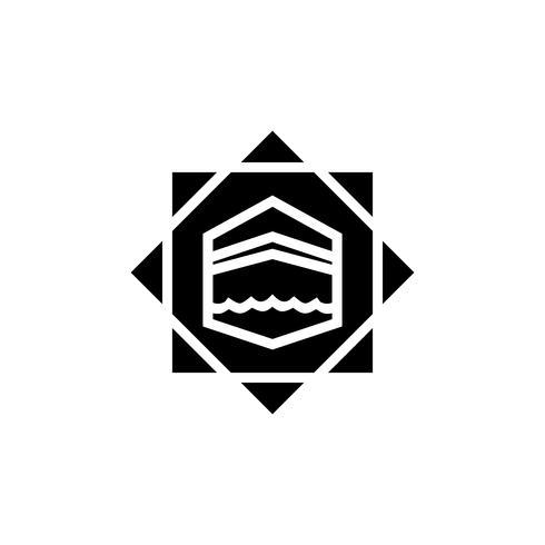 Kaaba glyph pictogram ontwerp vector