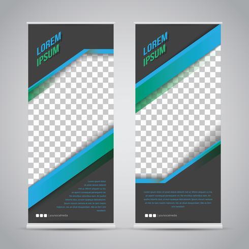 Blauwe zwarte Roll-up Banner sjabloon Mock Up vector
