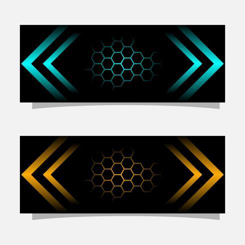 Abstract zwart banner moderne conceptontwerp. Glanzende gouden en blauwe kleur vector