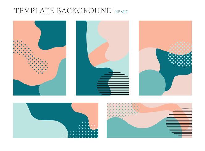 Set dekking brochure en banner websjabloon achtergrond. Naadloze patronen pastelkleuren kleur. Geometrische vloeistof vormt trendy lay-out met ruimte voor tekst. vector