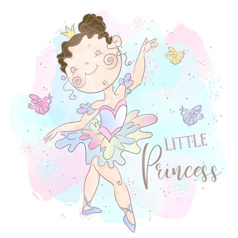 Kleine prinses ballerina dansen. Lieve meid. Vector