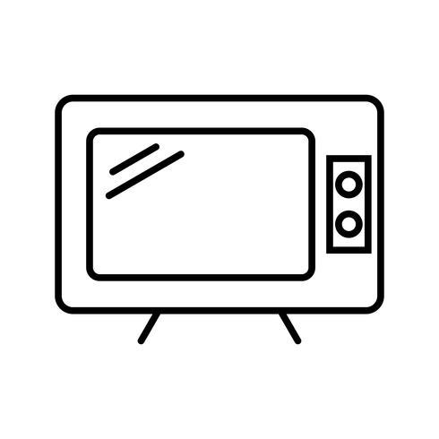 Telivison lijn zwart pictogram vector