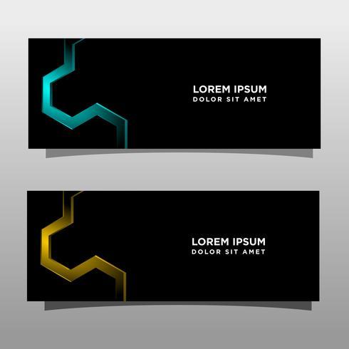 Abstracte zwarte banner technologie conceptontwerp. Glanzende gouden en blauwe kleur vector