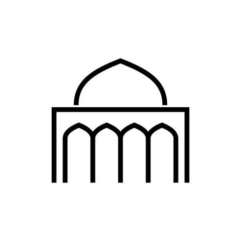 moskee overzicht pictogram. ramadan kareem vector