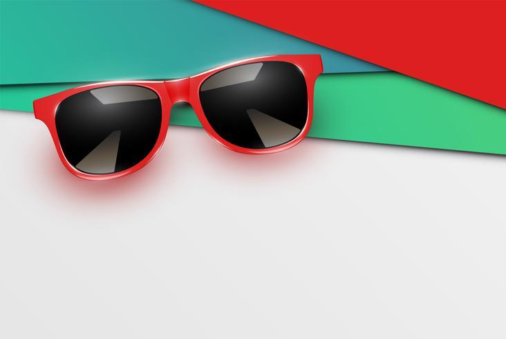 Kleurrijke vellen papieren met realistische zonnebril, vectorillustratie vector