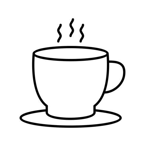 Mooie theekop Lijn zwart pictogram vector