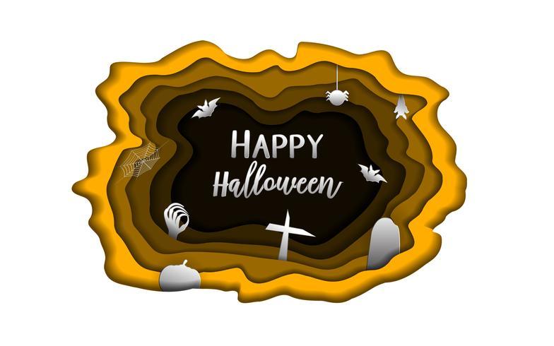 Happy Halloween-dag papier snijden achtergrond. Leuk paperart en administratieconcept voor het materiaal van de spookgroetkaart. Cartoon kunstwerk poster. Vakantie vector sjabloon uitnodiging brief cover stijlthema