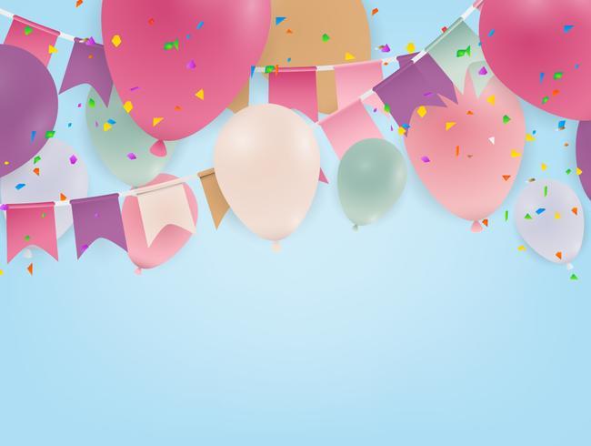 Papierkunst met wolk op blauwe hemel. Ruimte kopiëren. Tekstballon, witte lege ophanging en ballon. vector