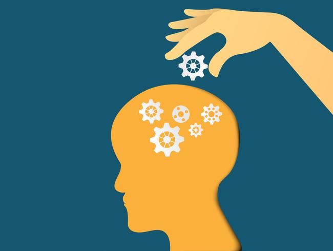 Hand zetten versnellingen met hoofd. Hoofd denken. Businessplan en idee. vector