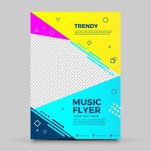 Trendy kleurrijke muziekvlieger vector