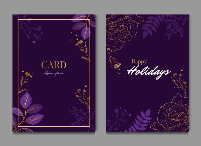 Eenvoudige donkere paarse bloemen viering bruiloft kaart uitnodiging vector