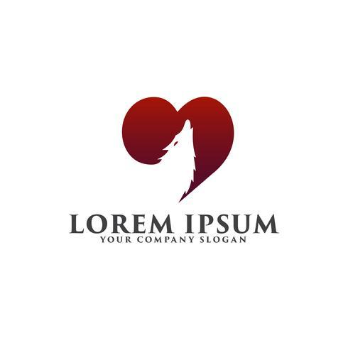 liefdes wolf logo ontwerpsjabloon concept vector