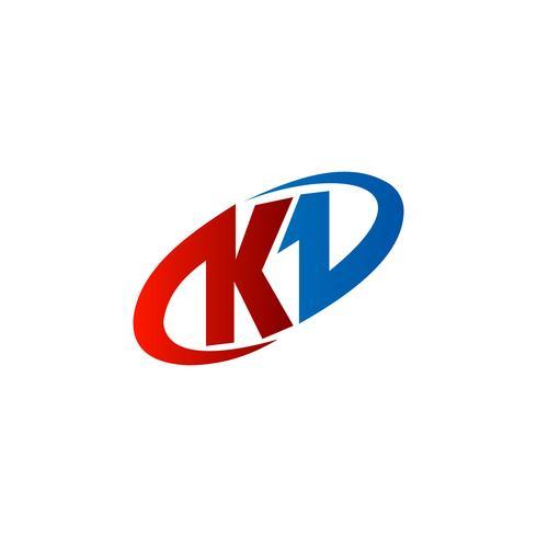 letter K-logo. rode blauwe kleur, ontwerpconcept van het cirkellogo templa vector