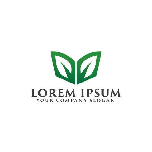 bladgroen boeklogo. onderwijs logo ontwerpsjabloon concept vector