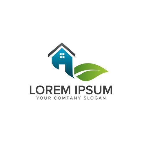 leaf house logo. Onroerend goed Architectural Construction logo des vector