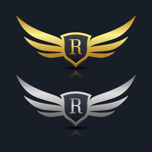 Wings Shield Letter R Logo sjabloon vector