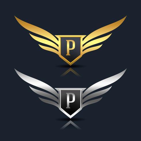 Wings Shield Letter P Logo sjabloon vector