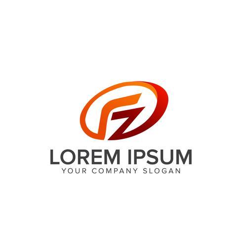 letter F-logo. ovale logo ontwerpsjabloon concept vector