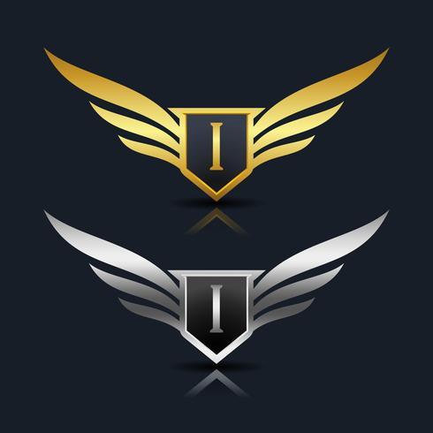 Wings Shield Letter I Logo sjabloon vector