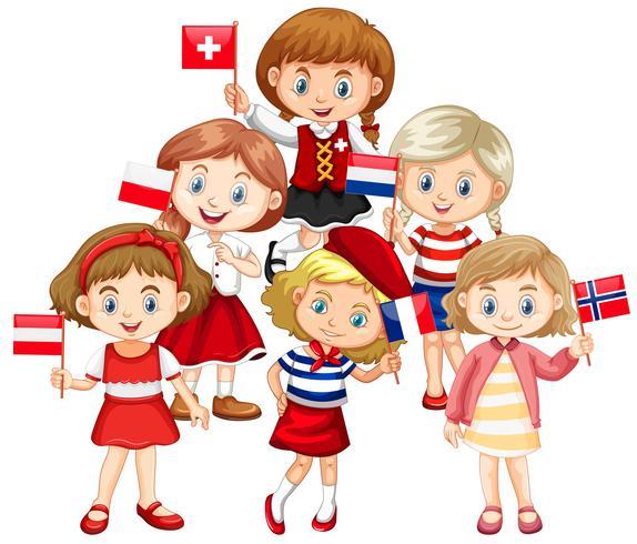 Kinderen houden van vlaggen uit verschillende landen vector