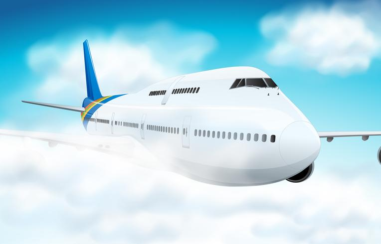 Scène met vliegtuig dat in de hemel vliegt vector