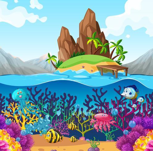 Scène met vissen onder de oceaan vector