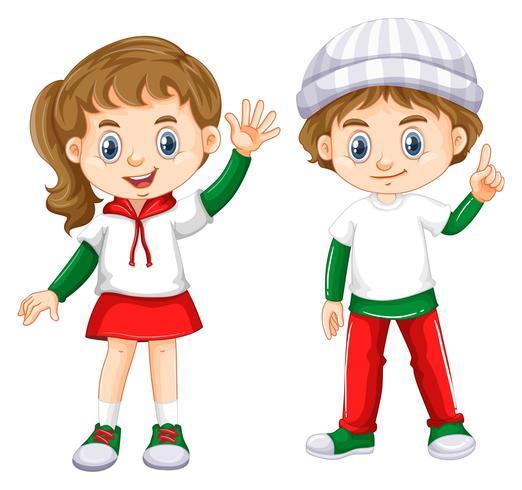 Jongen en meisje met blij gezicht vector