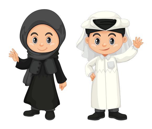 Jongen en meisje in het kostuum van Qatar vector