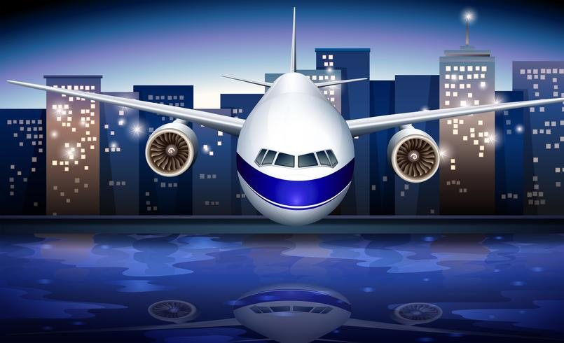 Een vliegtuig in de buurt van de hoge gebouwen vector