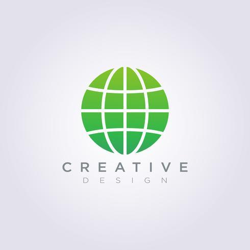 Globe World Abstract Vector Illustratie Clipart Symbool Logo Sjabloon